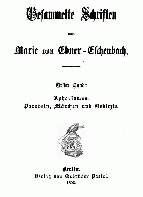 Titelblatt >Aphorismen< Marie von Ebner-Eschenbach
